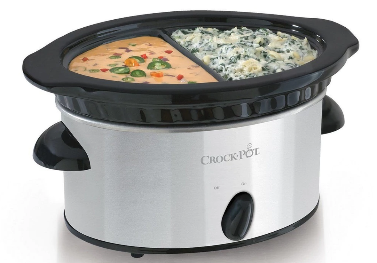 A double dip warmer that fits perfectly on your Crock-Pot, since we all know that cold chile con queso is the absolute worst.