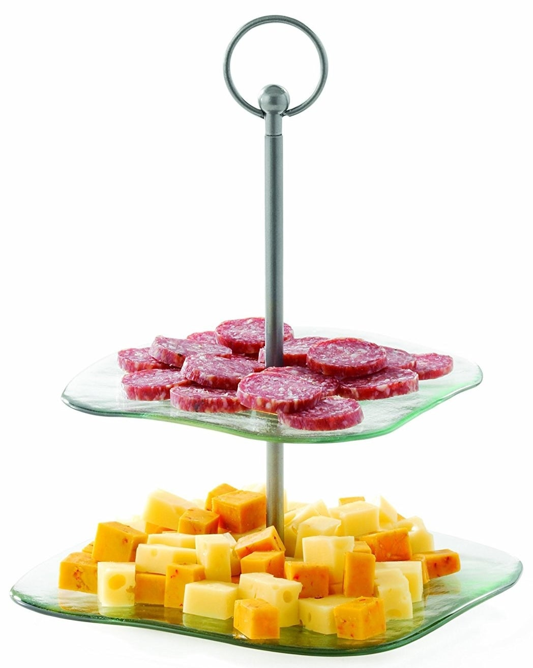 A two-tiered serving tray with a steel rod for easy handling and is made from recycled glass.