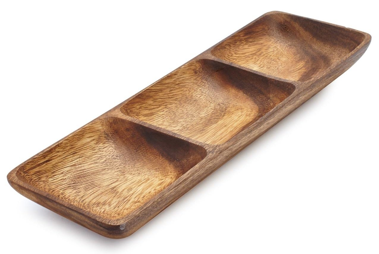 A super smooth and durable dish made from acacia wood for every type of olive imaginable, if that's your thing.