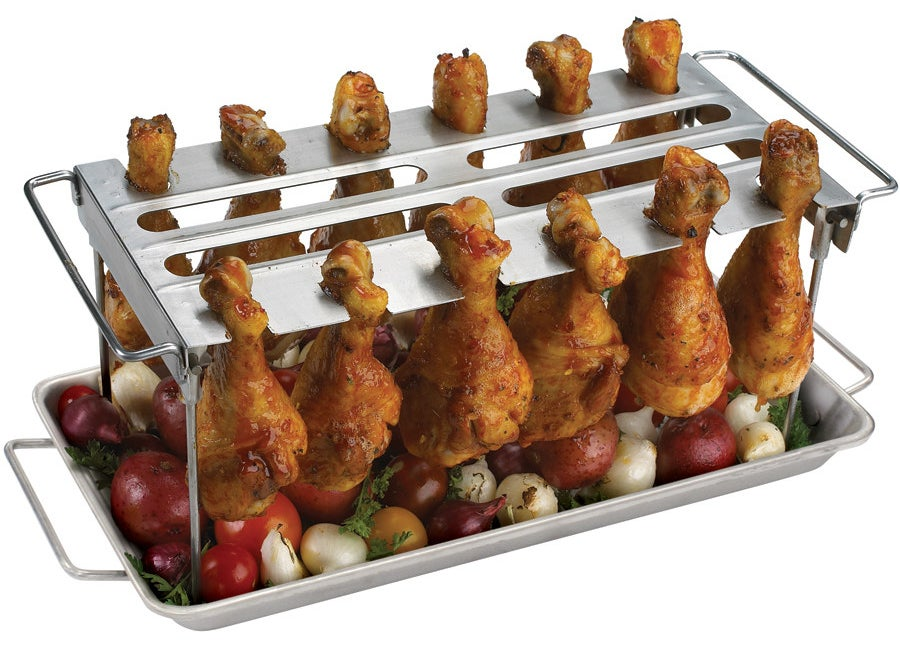 A grilling rack to cook and serve the most evenly-baked chicken wings.