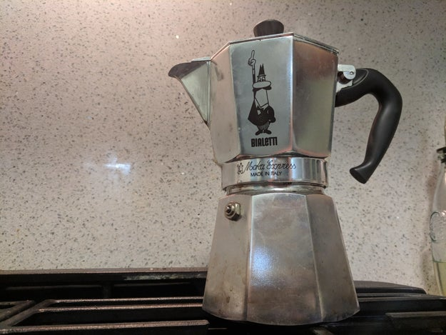 An Italian moka pot that does the job of a coffee shop espresso machine.
