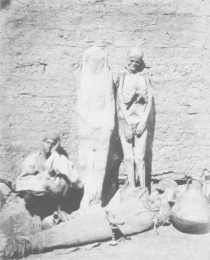 The mummified remains of Egyptians pharaohs was sold as medicine in Germany until the 20th century. The picture above is of an Egyptian mummy seller in 1875.