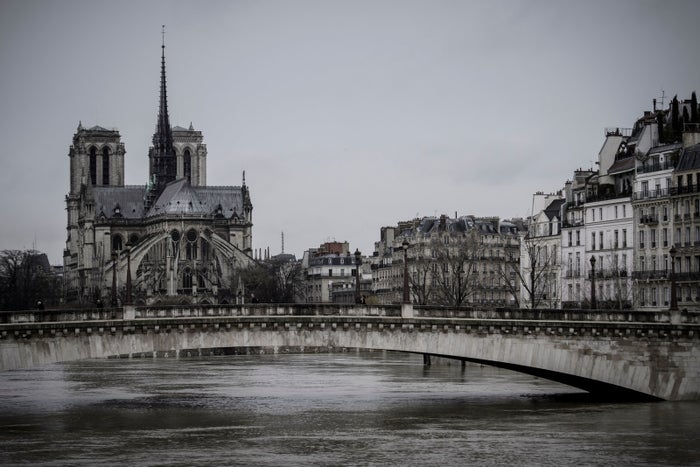 The high level of the Seine near the Notre-Dame de Paris cathedral on Thursday.