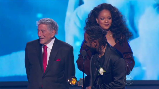 The only thing is, he wouldn't get out of Rihanna's way so that she could get to the mic.