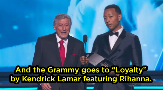 And one of the people who presented the Grammy to Kendrick was 19-time Grammy winner Tony Bennett.