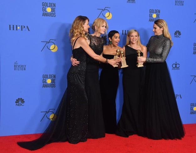 You might remember how at this year's Golden Globes, stars wore black to show their support for #MeToo and Time's Up — movements that seek to end sexual harassment and assault.