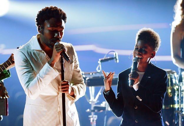 Well, toward the end of his Grammys performance on Sunday night, Childish Gambino brought out a tween to come sing with him.