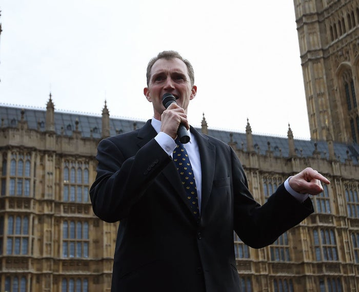 Monmouth MP David Davies speaks during a pro-Brexit protest outside the Houses of Parliament in Westminster, London in 2016.
