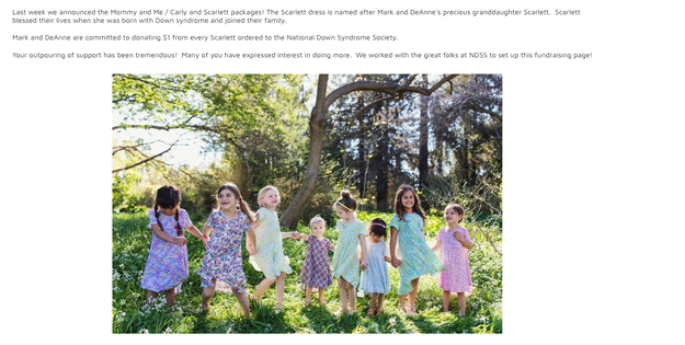 The connection to Down Syndrome was especially significant because LuLaRoe's founders have a personal connection to the disorder. After their granddaughter, Scarlett, was born with it, LuLaRoe designed a dress in her honor and pledged $1 of each sale to the National Down Syndrome Society.