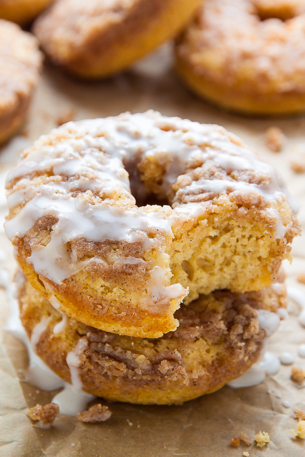 Coffee Cake Doughnuts with Vanilla Glaze