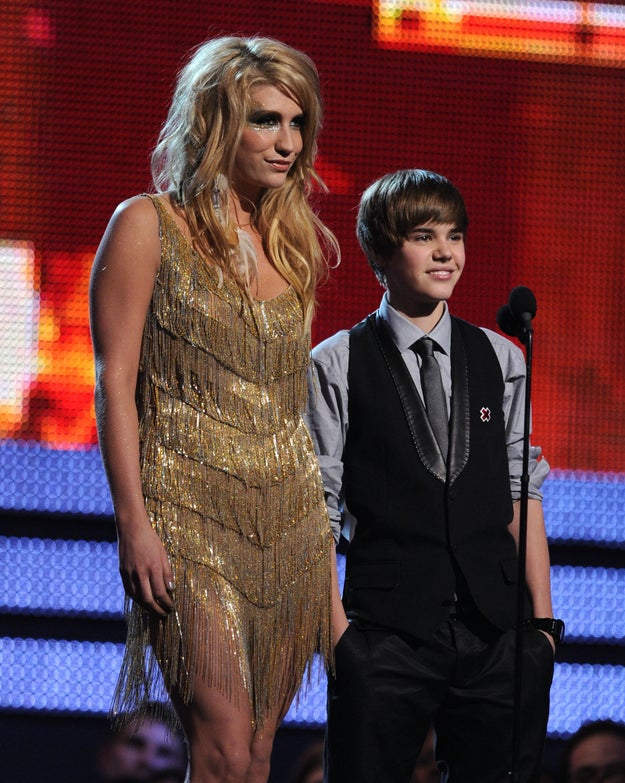 In 2010, Ke$ha and (baby) Justin Bieber appeared on the Grammys stage together...