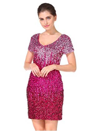 887a91f37e3 A sequined mini dress that ll keep the party going long after the DJ s last  song.