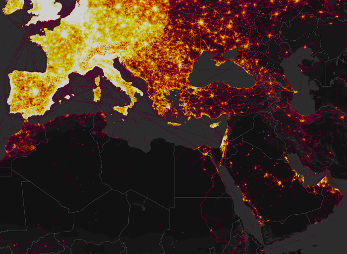 Heatmap released by Strava, which tracks users' outdoor workouts via GPS.