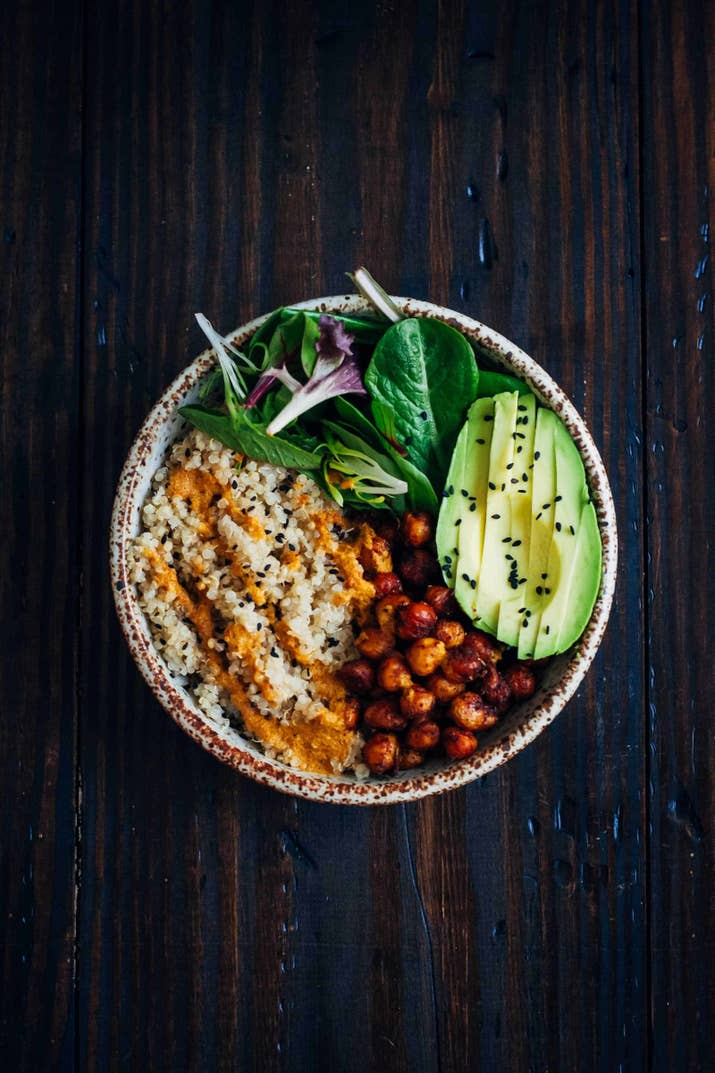 There's really no wrong way to put together a buddha bowl. Just throw in some protein, vegetables, and grains, and you're good to go. Here's one recipe to get you started.