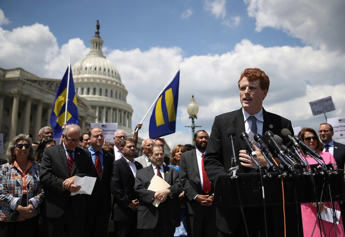 Rep. Joe Kennedy speaks at a press conference condemning the new ban on transgender service members in 2017.