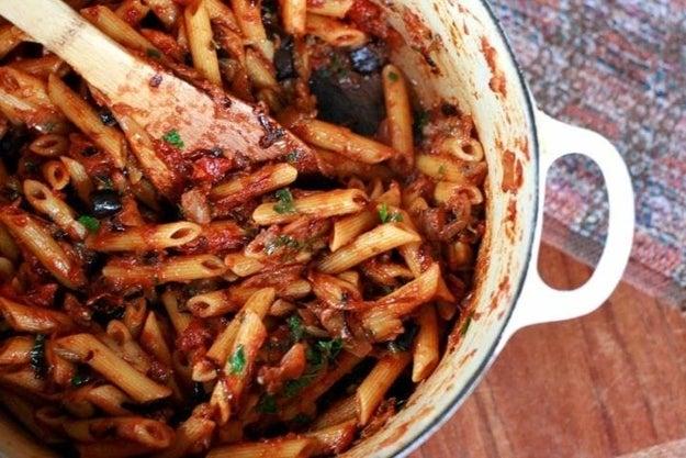 Eggplant, Caramelized Onion, And Tomato Pasta