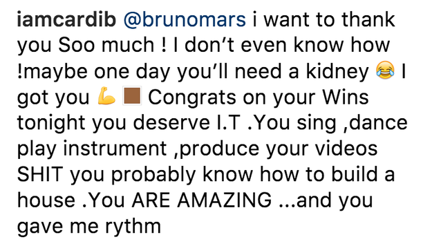 Basically, Cardi just seemed grateful to be there and even more grateful to Bruno for having her back (and her future kidney).
