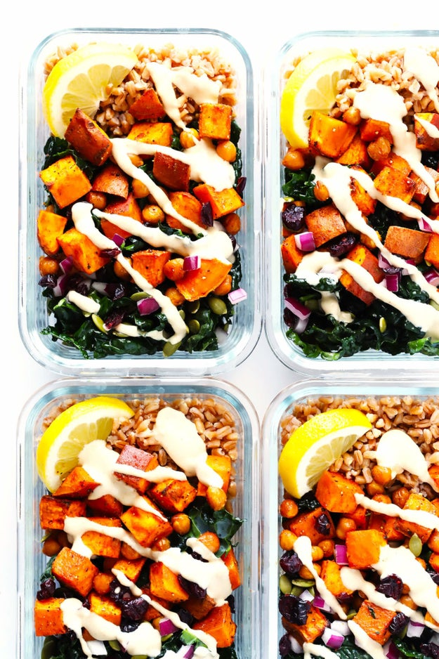 Roasted Sweet Potato, Chickpea and Kale Bowls