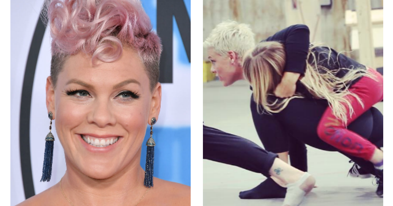 People Are Loving Pink's Instagram Pic Of Her Daughter Climbing All Over Her While She Tries To Rehearse For Her Tour