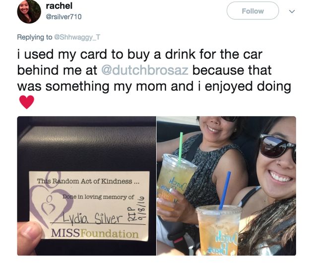 """Kindness Project cards have been used around the world to perform random acts of kindness in memory of a child, parent, friend, or spouse who died before their time,"" the MISS Foundation website reads."