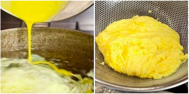 Poach your scrambled eggs.