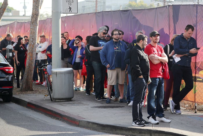 Customers wait outside the MedMen store in West Hollywood, one of the two Los Angeles–area pot shops that began selling marijuana for recreational use on Jan. 2.