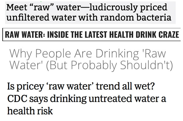 The popularity of raw water is rising. So what is it, exactly? It's untreated, unfiltered, natural spring water.
