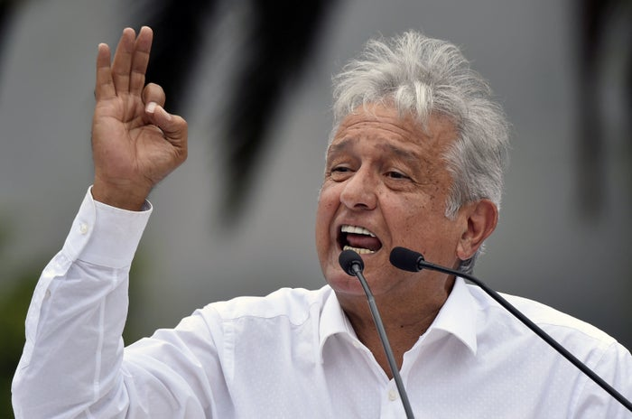 The president of the National Regeneration Movement (MORENA), Andrés Manuel López Obrador, speaks during a rally in Mexico City on Sep. 3, 2017.