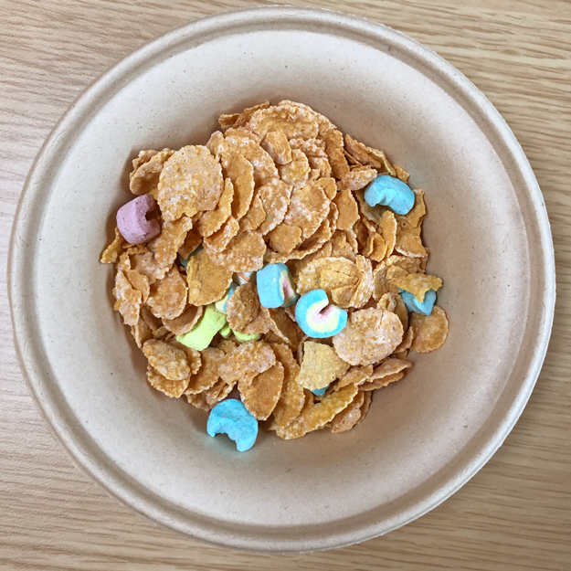 It's literally Lucky Charms marshmallows mixed in with frosted cornflakes.