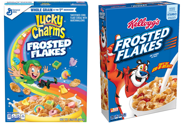 And, for the record, these are NOT Kellogg's Frosted Flakes, but General Mills' own version of sweetened cornflakes.