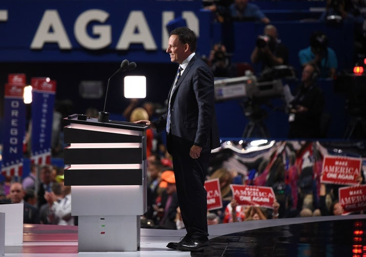 Peter Thiel addresses the final night of the 2016 Republican National Convention at Quicken Loans Arena in Cleveland, Ohio.