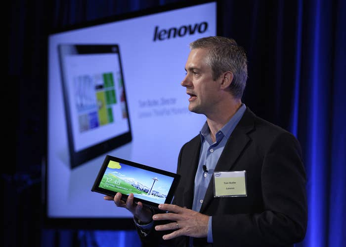 A Lenovo ThinkPad with Intel's new processor is shown in 2012.