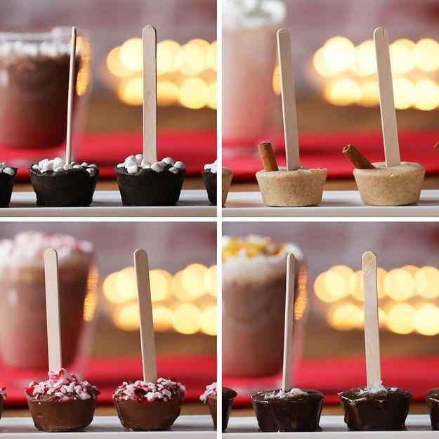 Peppermint Hot Chocolate On A Stick16 servingsINGREDIENTS120 mL (½ cup) heavy cream225 mL (¾ cup) condensed milk350 g (2 cups) milk chocolate chip1 teaspoon peppermint extract20 g (¼ cup) crushed peppermint, candies20  popsicle stickPREPARATION1. In a saucepan set over medium heat, warm the heavy cream, condensed milk, and peppermint extract and bring to a simmer.2. Place chocolate chips in a heat-proof bowl, and pour on top the top cream mixture. Allow to stand for 1 minute before stirring to combine.3. Using a cookie scoop, spoon the mixture into a silicone mini muffin pan. Garnish each with crushed peppermint candies.4. Allow to sit at room temperature for 20 minutes, then insert a popsicle stick into the middle of each.5. Freeze for 2 hours, or refrigerate for 4 hours.6. To serve, dissolve a stick into a mug of hot milk.7. Enjoy!---Salted Caramel Hot Chocolate On A Stick16 servingsINGREDIENTS120 mL (½ cup) heavy cream225 g (1 cup) caramel sauce, divided350 g (2 cups) semi-sweet chocolate chip1 tablespoon sea salt flake20  popsicle stickPREPARATION1. In a saucepan set over medium heat, warm the heavy cream and ¾ cup caramel sauce,  and bring to a simmer.2. Place chocolate chips in a heat-proof bowl,  and pour on top the top cream mixture. Allow to stand for 1 minute before stirring to combine.3. Using a cookie scoop, spoon the mixture into a silicone mini muffin pan.  Chill in the freeze for 20 minutes.4. Drizzle tops with remaining caramel sauce and a sprinkle of sea salt flakes.  Insert a popsicle stick into the middle of each.5. Freeze for 2 hours, or refrigerate for 4 hours.6. To serve, dissolve a stick into a mug of hot milk. Enjoy!---Snickerdoodle Hot Chocolate On A Stick12 servingsINGREDIENTS120 mL (½ cup) heavy cream230 g (¾ cup) condensed milk350 g (2 cups) white chocolate chips1 ½ teaspoons ground cinnamon¼ teaspoon ground nutmeg1 teaspoon vanilla extract cinnamon stick, optional20  popsicle stickPREPARATION1. In a saucepan set over medium heat, warm the heavy cream, condensed milk and cinnamon, nutmeg and vanilla, and bring to a simmer.2. Place chocolate chips in a heat-proof bowl, and pour on top the top cream mixture. Allow to stand for 1 minute before stirring to combine.3. Using a cookie scoop, spoon the mixture into a silicone mini muffin pan. Garnish with cinnamon sticks. Allow to set at room temperature for 20 minutes.  Insert a popsicle stick into the middle of each.4. Freeze for 2 hours, or refrigerate for 4 hours.5. To serve, dissolve a stick into a mug of hot milk.6. Enjoy!---Hot Chocolate With Marshmallow On A Stick12 servingsINGREDIENTS120 mL (½ cup) heavy cream225 g (¾ cup) condensed milk2 tablespoons cocoa powder350 g (2 cups) semi-sweet chocolate chip40 g (¾ cup) marshmallow, bits20  popsicle stickPREPARATION1. In a saucepan set over medium heat, warm the heavy cream, condensed milk and cocoa powder, and bring to a simmer.2. Place chocolate chips in a heat-proof bowl, and pour on top the top cream mixture. Allow to stand for 1 minute before stirring to combine, until thick and smooth.3. Using a cookie scoop, spoon the mixture into a silicone mini muffin pan. Use a butter knife to smooth the tops as needed.4. Garnish the tops with the marshmallows.  Insert a popsicle stick into the middle of each.5. Freeze for 2 hours, or refrigerate for 4 hours.6. To serve, dissolve a stick into a mug of hot milk.7. Enjoy!