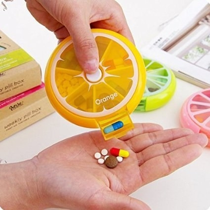 This refreshing pill dispenser that comes in orange, lemon, and pomelo.