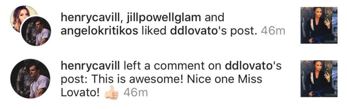 Demi Lovato's interaction with Henry Cavill is a master class in Instagram flirting.