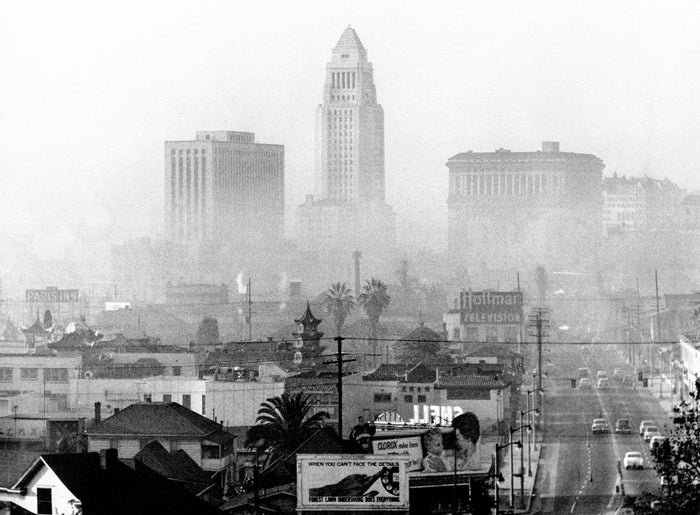 Los Angeles is seen through thick smog, mid-20th century.