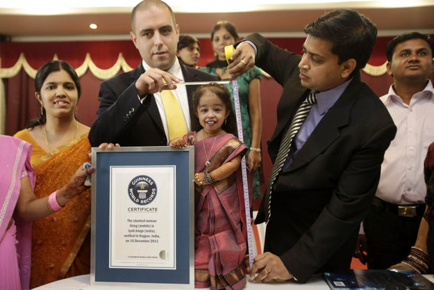Amge, an actress from India, has a form of dwarfism called achondroplasia. She was officially named the shortest woman in the world on Dec. 16, 2011 — her 18th birthday.