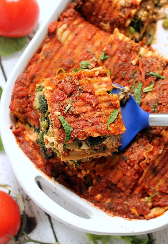 You could technically buy a vegan ricotta substitute, or you can make this lasagna with vegan tofu-hummus ricotta that is somehow able to perfectly replicate the dairy stuff. Pro tip: Make extra tofu ricotta to snack on later. Recipe here.