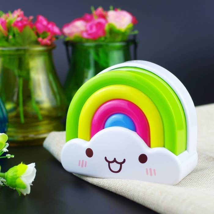 """Promising review: """"It's adorable! I like that it has both sound and motion detection. It's not too bright either. I was having a problem finding a night light for my son that wasn't too bright so he could sleep. This one seems to be just right."""" —Kimberly BleekerGet it from Amazon for $17.95."""