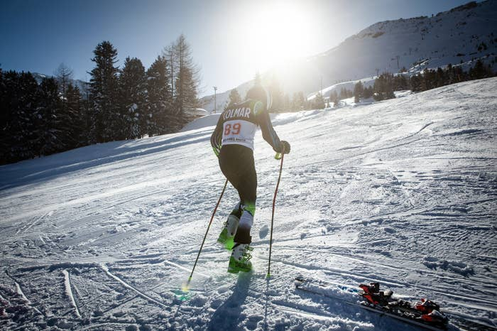 """Alishah Farhang warming up at the Santa Caterina Valfurva Ski Resort in the Lombardy region of Italy. Nervousness is radiating from the young man. """"It's difficult for your mind when you always start last in the races,"""" he says."""