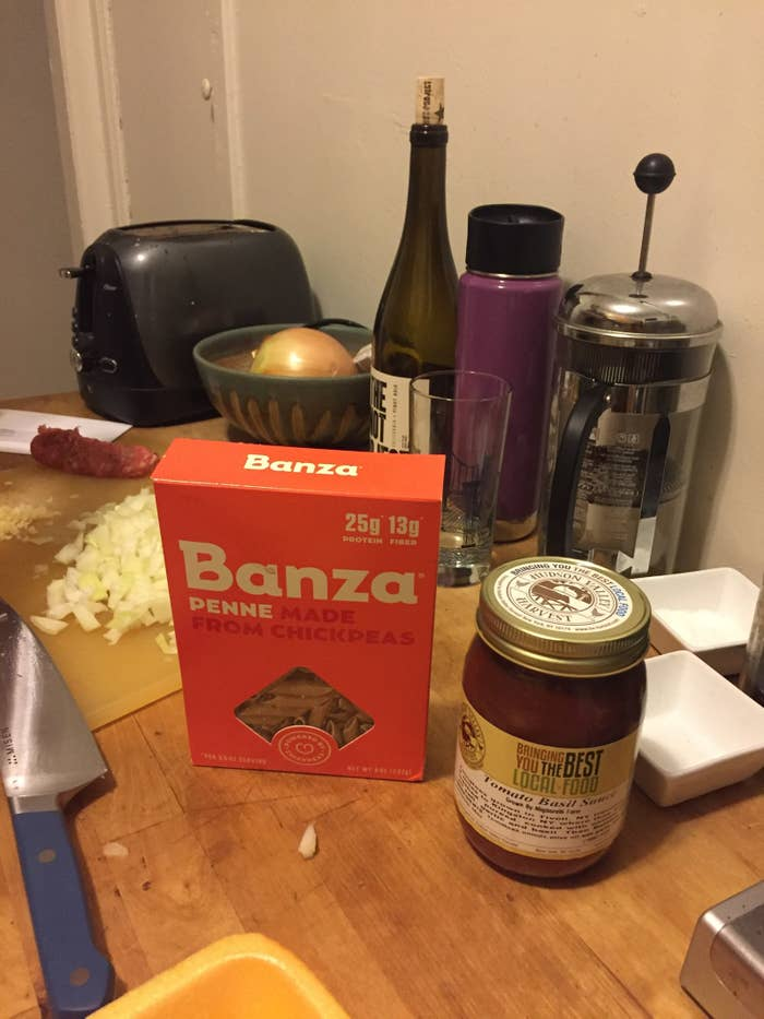 I got a free box of Banza spaghetti at a health fair at work, then promptly forgot about it for six weeks, until one fateful night when I made the brave decision not to go to the grocery store and instead to Chopped-challenge my way to dinner. My expectations were low; I've had diabetes for more than half my life, so I've tasted my fair share of lower-carb versions of delicious foods. They tend to taste like the uncanny valley equivalent of whatever they're imitating — just close enough to be actually quite repulsive. But I can admit when I'm wrong. And after one bite of cacio e pepe with Banza spaghetti, I was ready to tell the world: Banza is fucking delicious.