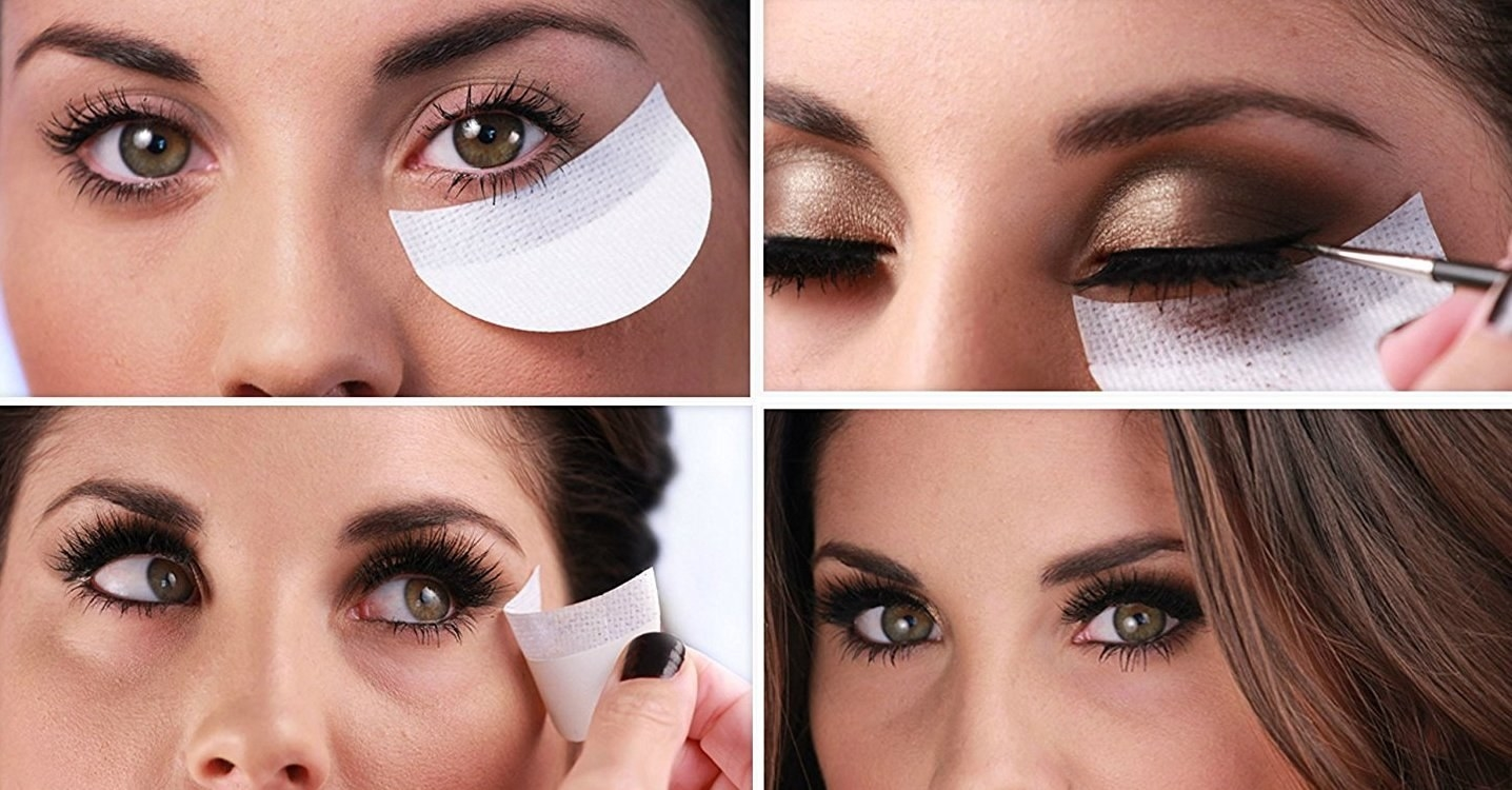 a chart of model using the shield as she puts on eyeshadow, taking it off, and revealing no fallout