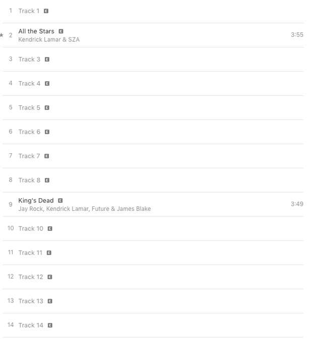 The blacking out of names refers to what the album currently looks like on iTunes. Only two songs have been revealed, leaving 12 that we don't know yet.