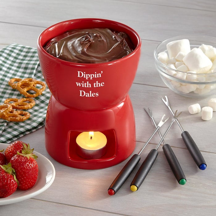 Includes pot, four forks, and tea light. Personalize with any 1 to 3 line message up to 16 characters each in block or script font. Hand wash.Price: $24.99+ (available with or without chocolate)