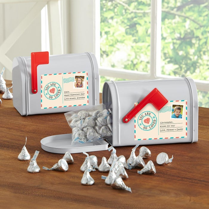 Includes 5 oz. of Hershey's chocolate kisses, and a personalized photo and text.Price: $24.99