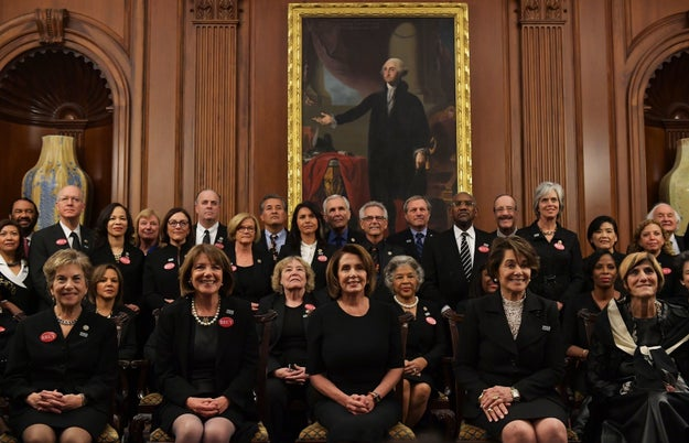 "This year, many Democratic women in Congress dressed in black in support of the #MeToo and ""Time's Up"" movements."