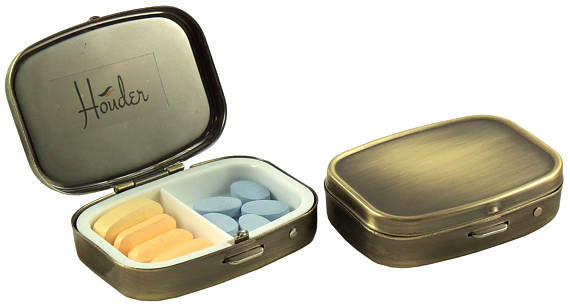 This distressed metal pill box that's just as ~fashionable~ as it is functional.