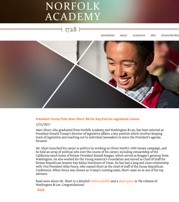 Norfolk Academy recently congratulated Short on his appointment in the White House.