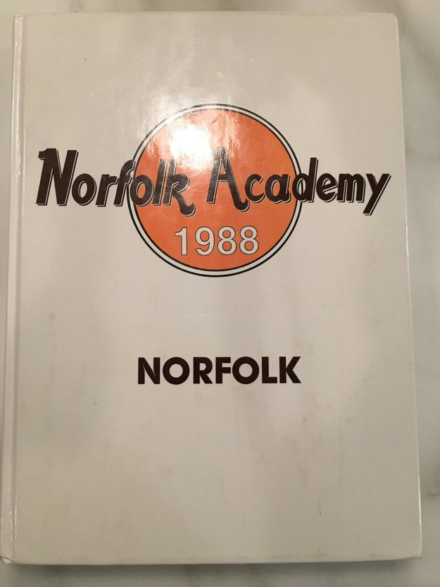 This is the 1988 yearbook from Norfolk Academy, which he graduated from: