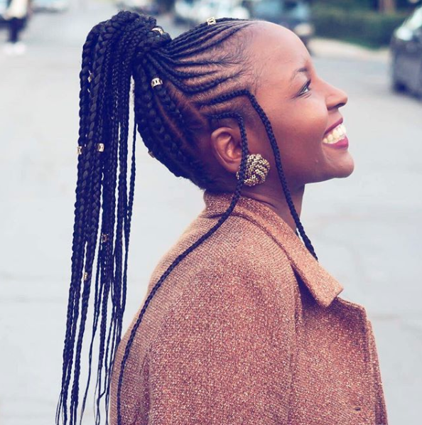 Fulani braids can be worn in endless ways, like in a high cornrowed ponytail...